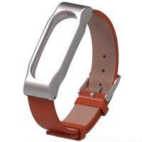 Ремешок для Mi Band 2 кожаный с металлическим основанием коричневый