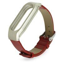 Ремешок для фитнес-браслета Mi Band 2 кожаный с пластиковым основанием красный