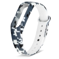 Ремешок для Mi Band 2 силиконовый серый пиксельный камуфляж