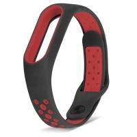 Ремешок для Mi Band 2 спортивный черный с красным