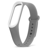 Ремешок для фитнес-браслета Xiaomi Mi Band 3 серый с белым