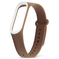 Ремешок для фитнес-браслета Xiaomi Mi Band 3 коричневый с белым