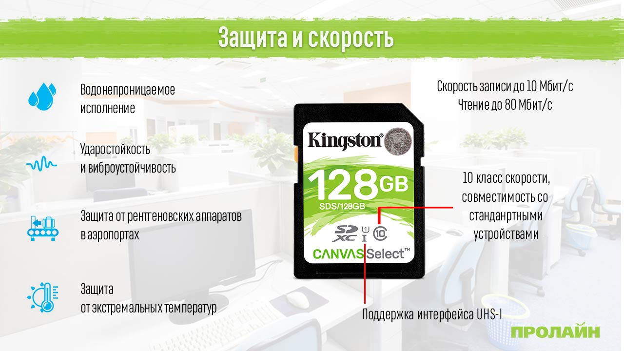 Карта памяти 128GB SDXC Class 10 Kingston UHS-I Canvas Select