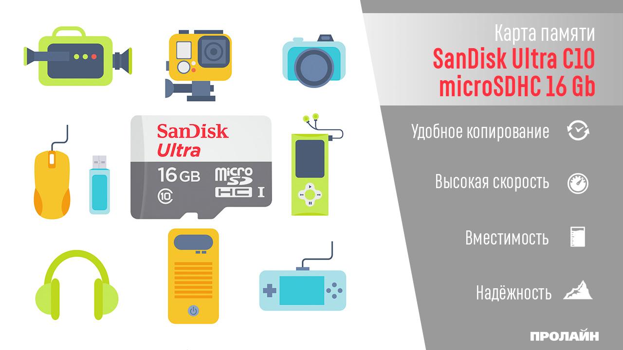 Карта памяти SanDisk Ultra С10 microSDHC 16 Gb