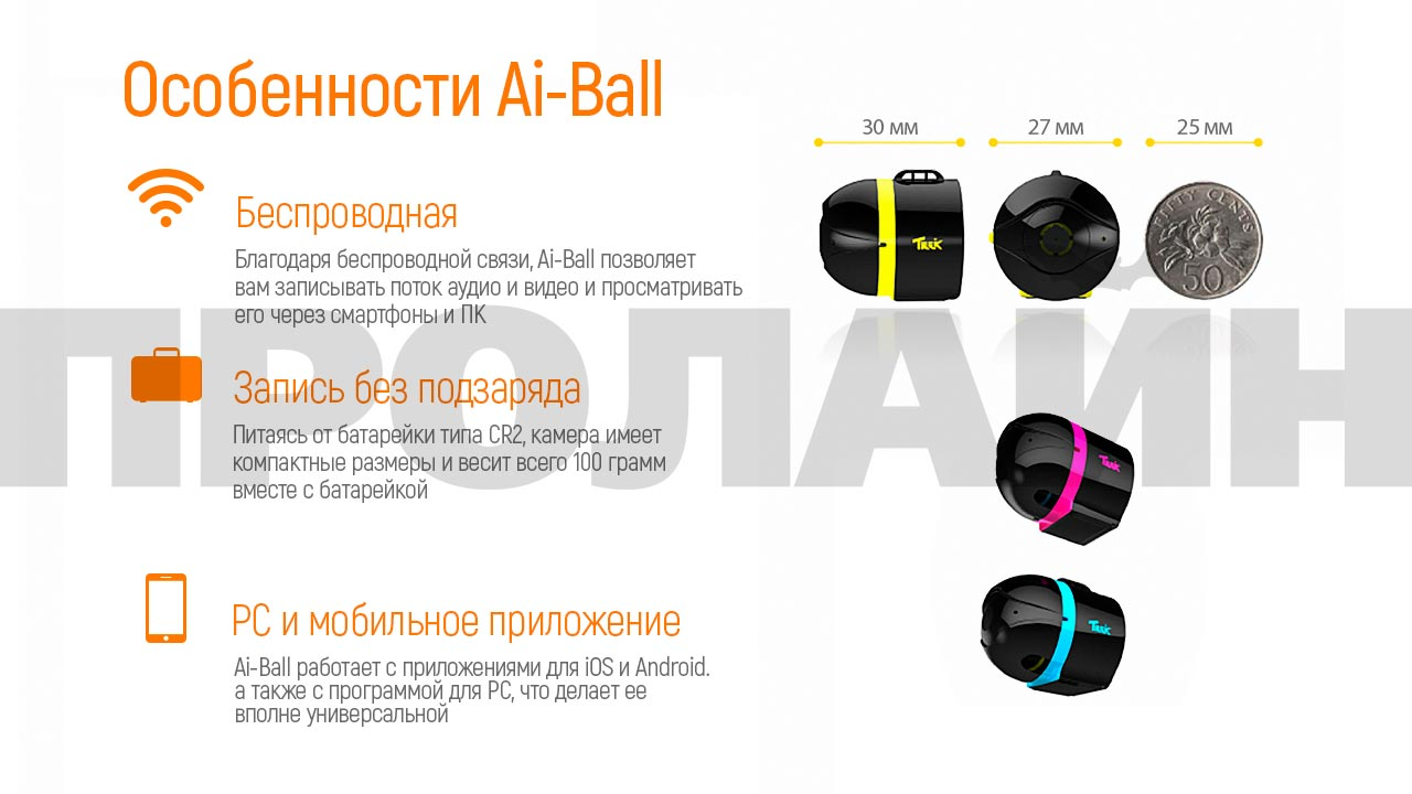 Миниатюрная Wi-Fi камера Ai-Ball Yellow