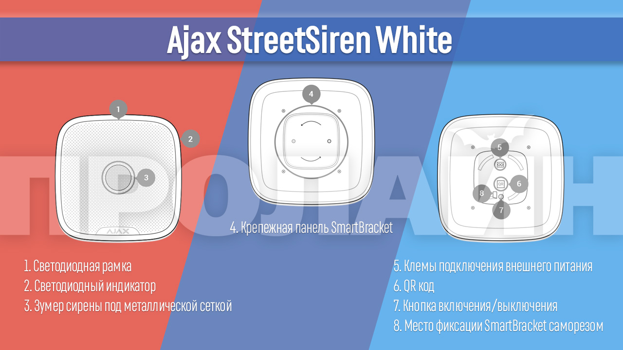 Беспроводная уличная сирена Ajax StreetSiren White