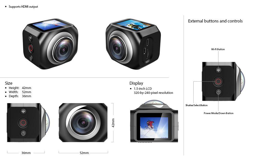 Панорамная экшн камера 4K с большим углом обзора EKEN R360
