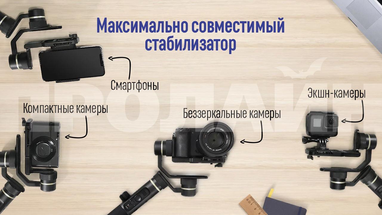 3-х осевой стабилизатор FeiyuTech FY-G6 Plus максимально совместим с разными типами камер