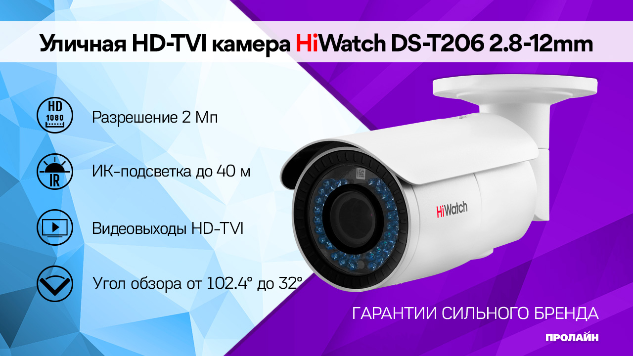 Уличная HD-TVI камера HiWatch DS-T206 2.8-12mm