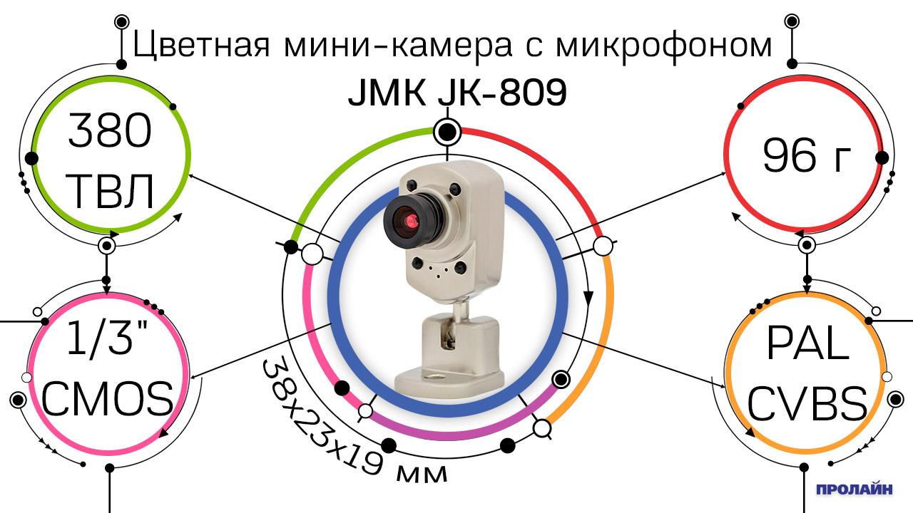 Цветная мини-камера с микрофоном JMK JK-809 CMOS