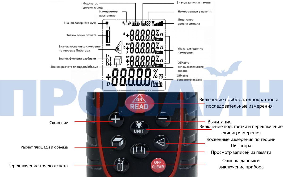 Лазерный дальномер QQ-100 (лазерная рулетка)