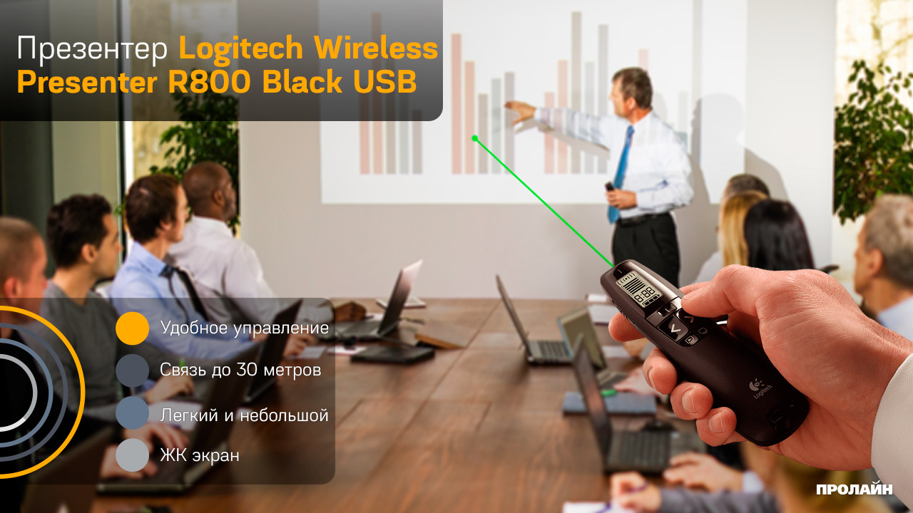 Презентер Logitech Wireless Presenter R800 Black USB