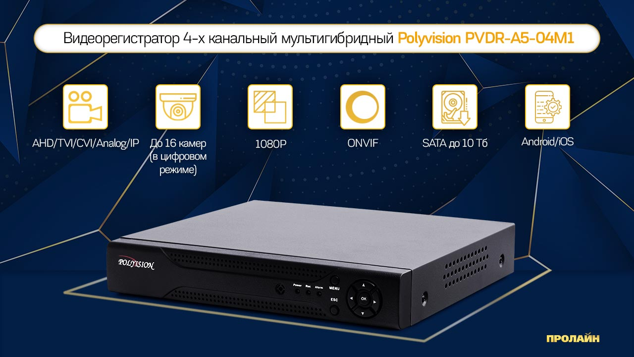 Видеорегистратор 4-х канальный мультигибридный Polyvision PVDR-A5-04M1