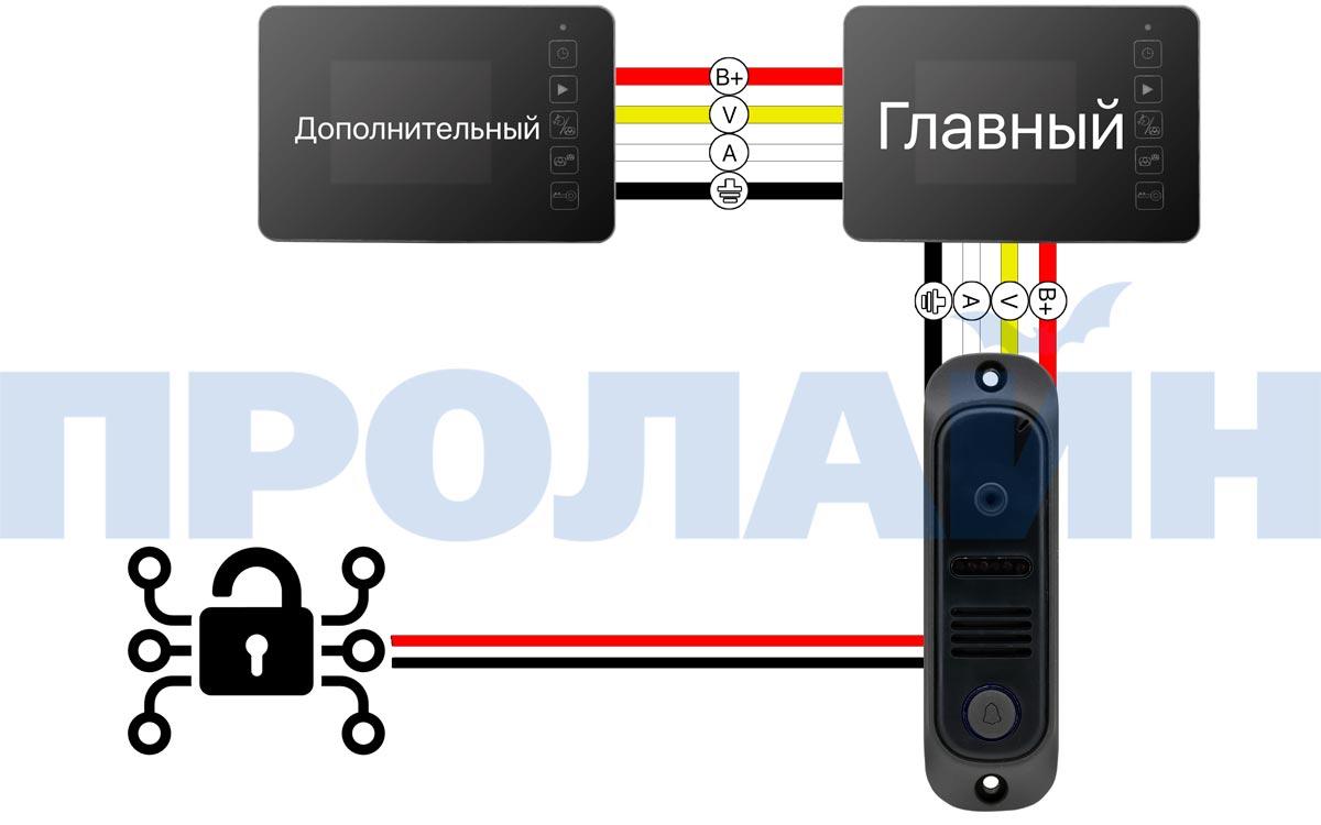 "Комплект 4,3"" LCD цветного видеодомофона Proline DF-KIT438U"