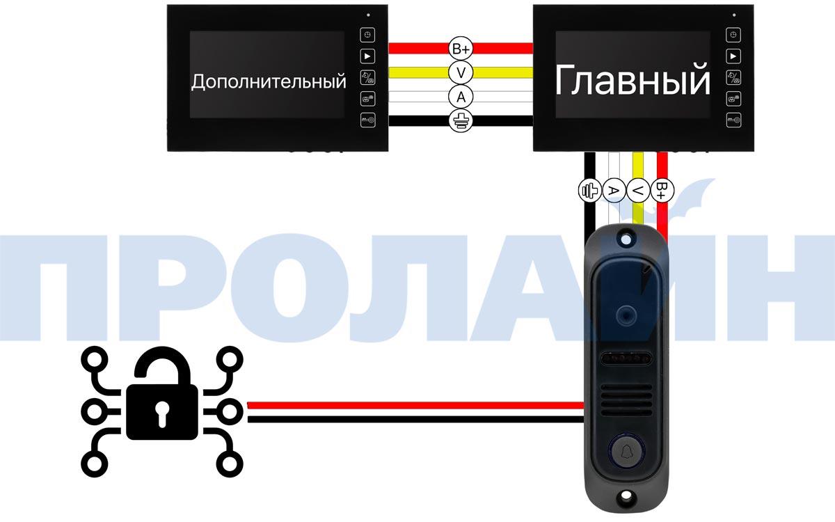"Комплект 7"" LCD цветного видеодомофона Proline DF-KIT728U"