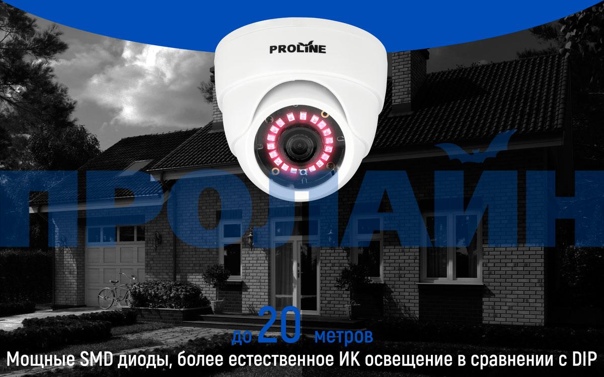 Купольная 2Мп AHD/CVI/TVI/CVBS видеокамера Proline HY-D2024FHM