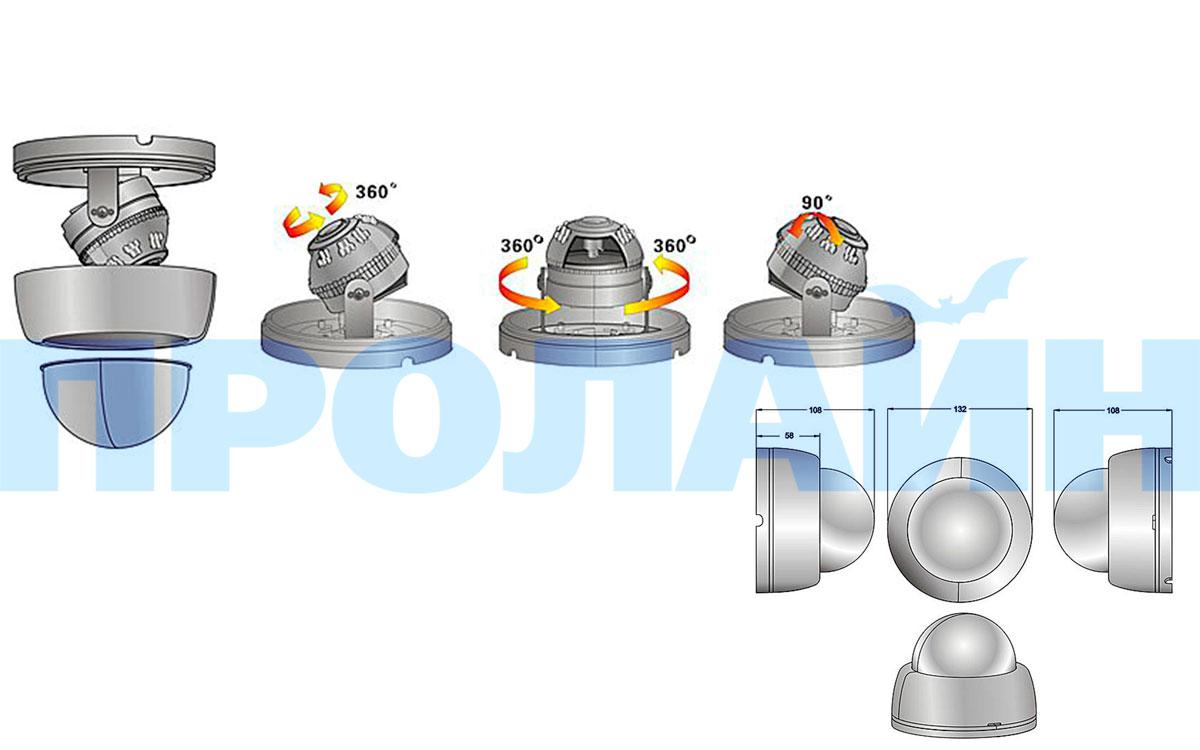 Купольная IP-камера Proline IP-D2133AVZ POE