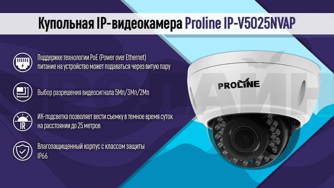 Купольная IP-видеокамера Proline IP-V5025NVAP