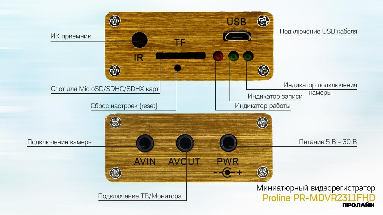 Миниатюрный видеорегистратор Proline PR-MDVR2311FHD