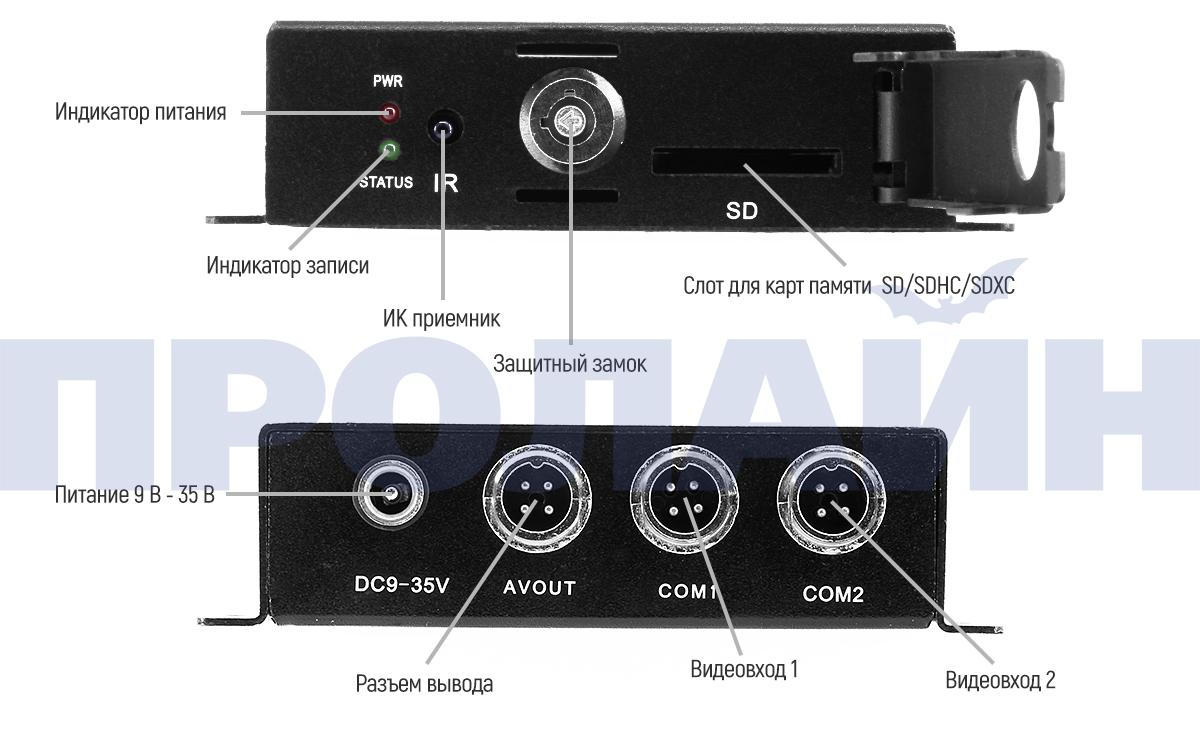 Миниатюрный видеорегистратор Proline PR-MDVR2312FHD