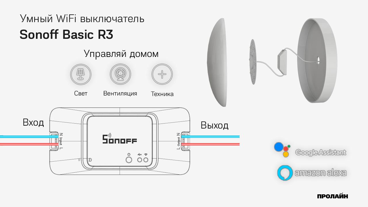 Умный WiFi выключатель Sonoff Basic R3