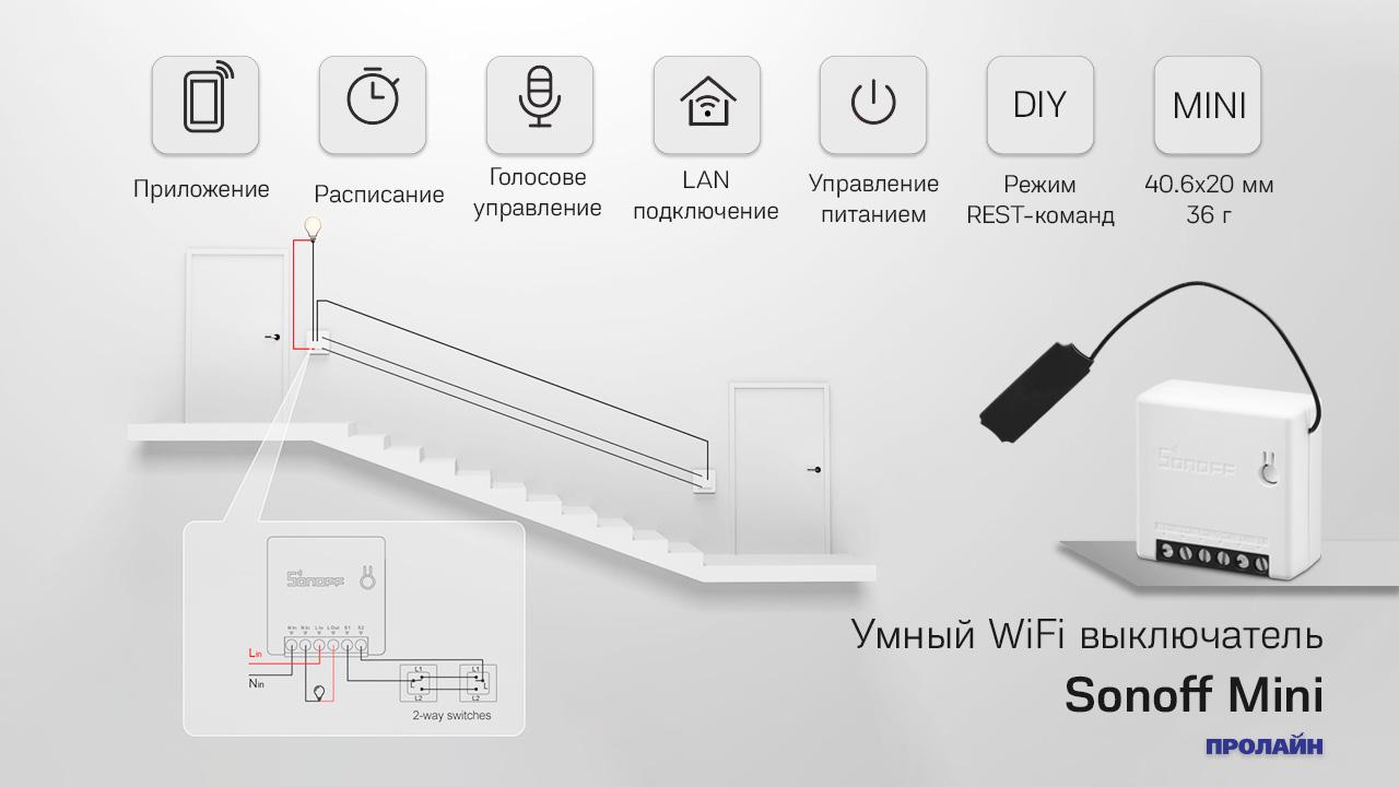 Умный WiFi выключатель Sonoff Mini