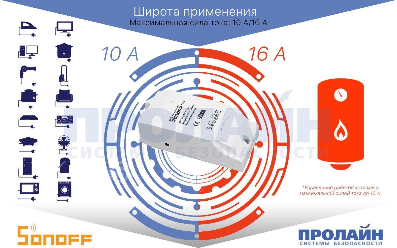 Умный WiFi выключатель Sonoff TH16