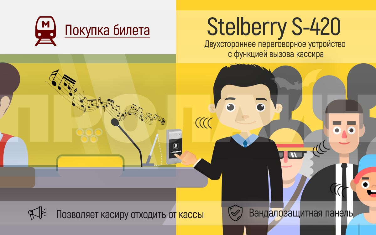 Переговорное устройство с кнопкой вызова кассира Stelberry S-420