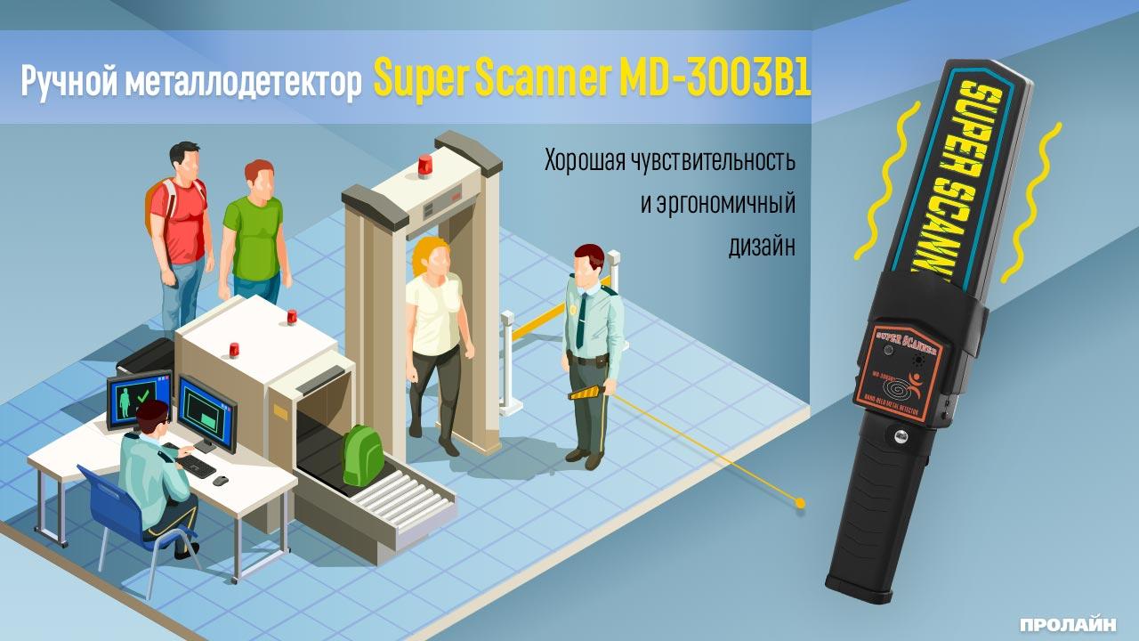 Ручной металлодетектор Super Scaner MD-3003B1