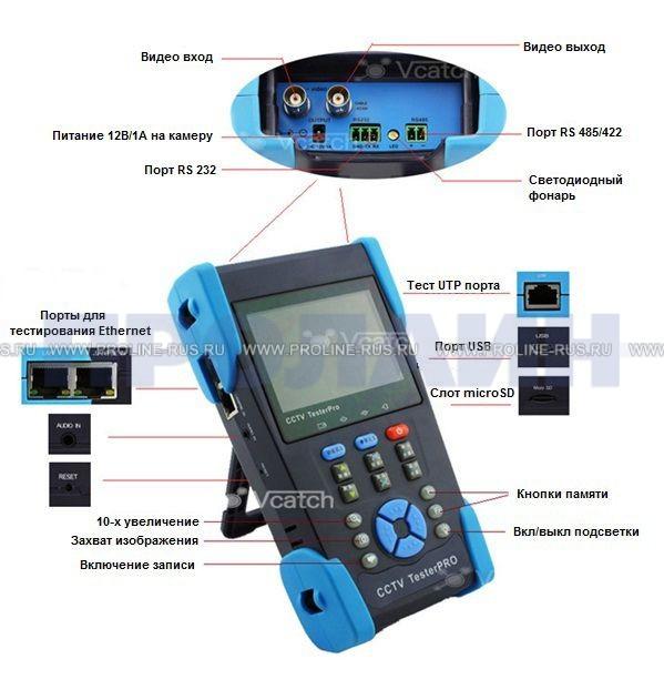 Тестер для систем видеонаблюдения D305LCD-H