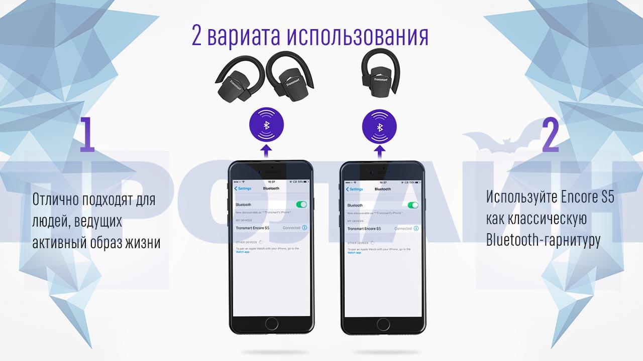 Bluetooth-наушники с микрофоном Tronsmart Encore S5
