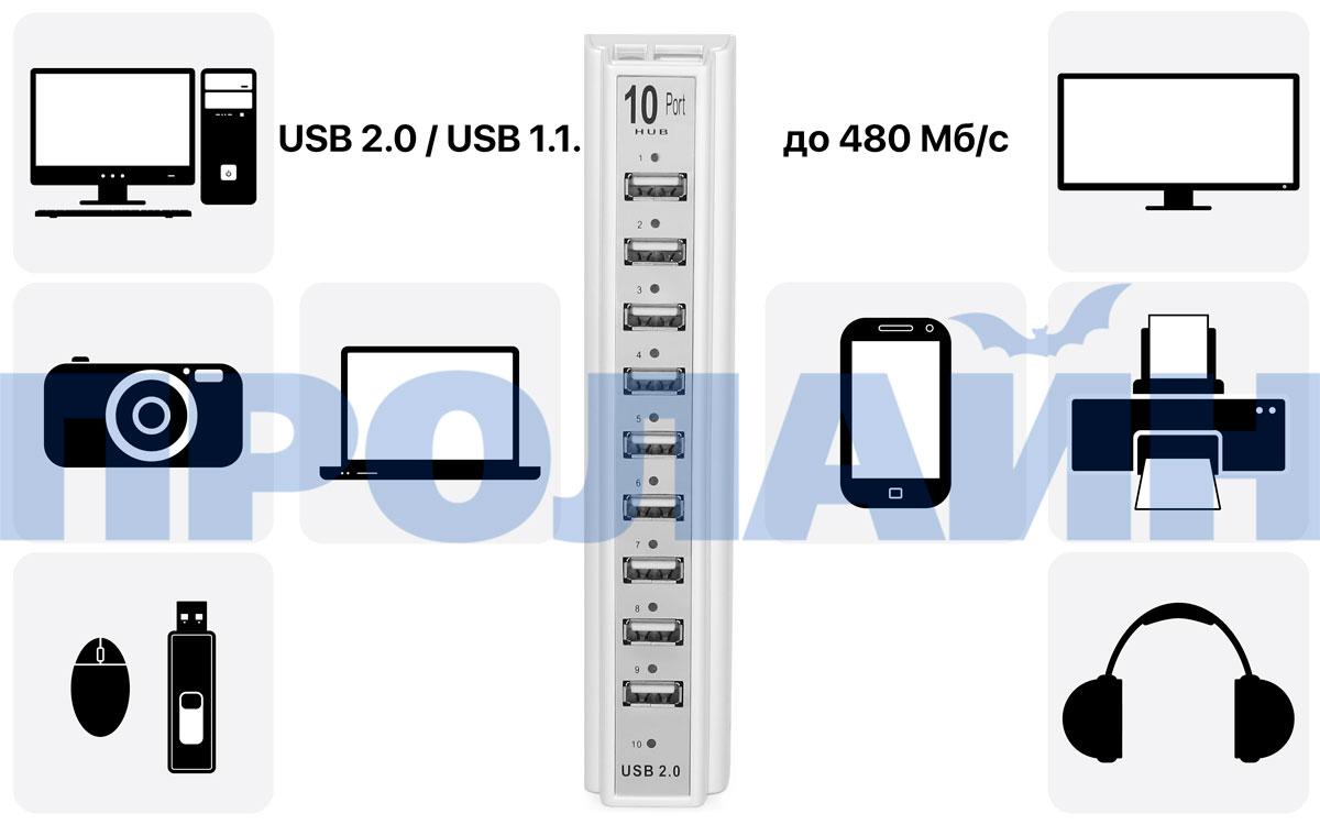 USB-хаб на 10 портов USB HUB 10P White