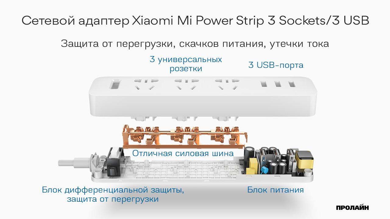 Сетевой фильтр Xiaomi Mi Power Strip 3 Sockets/3 USB
