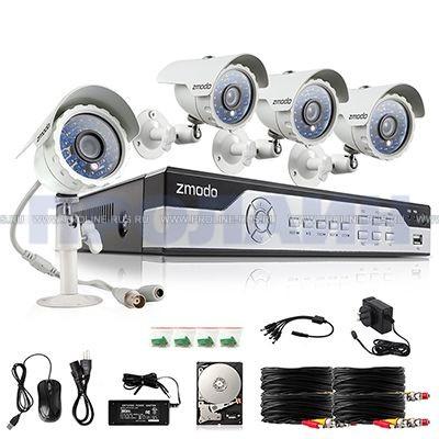 Комплект видеонаблюдения с 4 уличными камерами ZMODO ZM-I4Y4+1Tb
