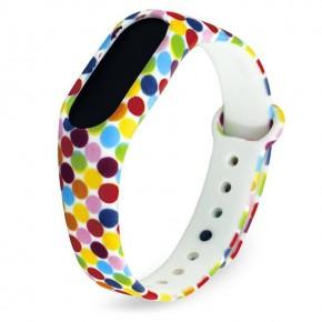 Ремешок для Mi Band 2 силиконовый с узором цветной горошек