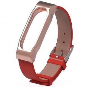 Ремешок для Mi Band 2 кожаный с металлическим основанием красный