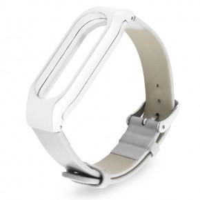 Ремешок для Mi Band 2 кожаный с пластиковым основанием белый
