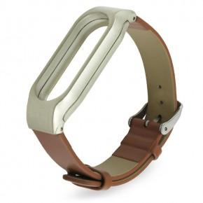 Ремешок для Mi Band 2 кожаный с пластиковым основанием коричневый