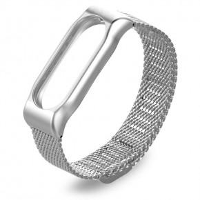 Ремешок для Mi Band 2 стальной магнитный серебряный