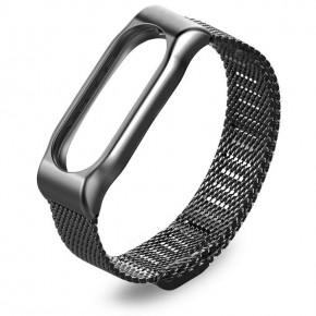 Ремешок для Mi Band 2 стальной магнитный черный