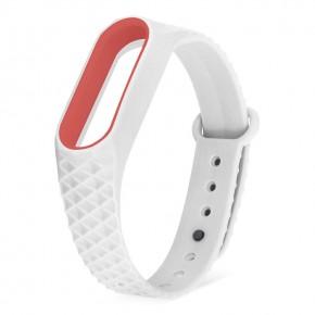 Ремешок для Mi Band 2 ребристый белый с красным основанием