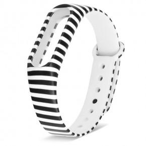 Ремешок для фитнес-браслета Mi Band 2 силиконовый с узором черно-белая полоска