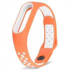 Ремешок для Mi Band 2 спортивный оранжевый с белым
