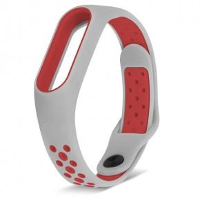 Ремешок для Mi Band 2 спортивный серый с красным